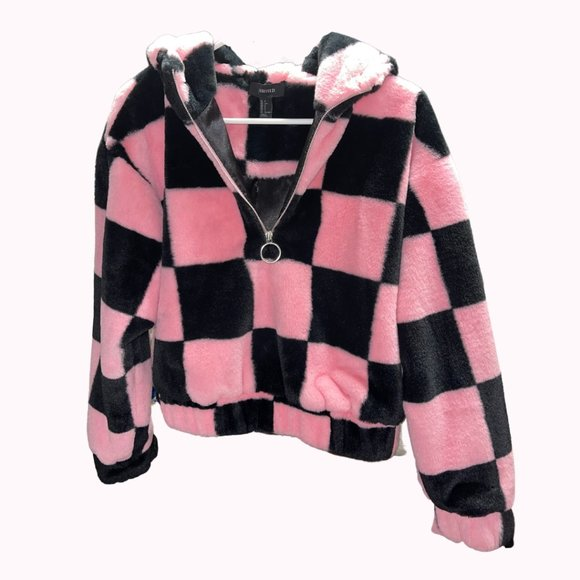 Pink & Black Checker Print Half Zip Plush Hoodie